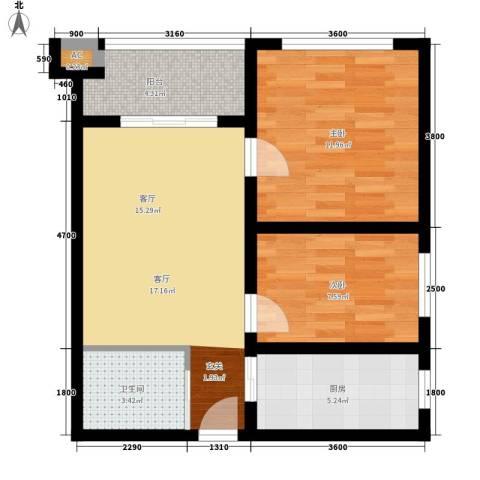 华旗东郡2室1厅1卫1厨73.00㎡户型图