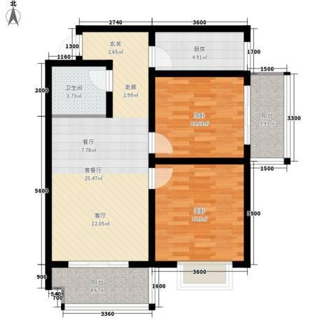 华旗东郡2室1厅1卫1厨98.00㎡户型图