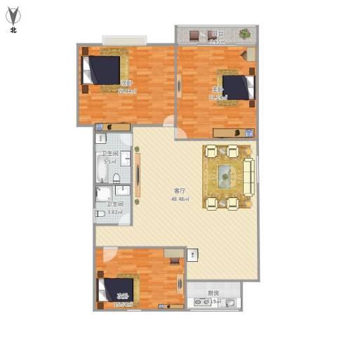 新馨家园3室1厅2卫1厨165.00㎡户型图