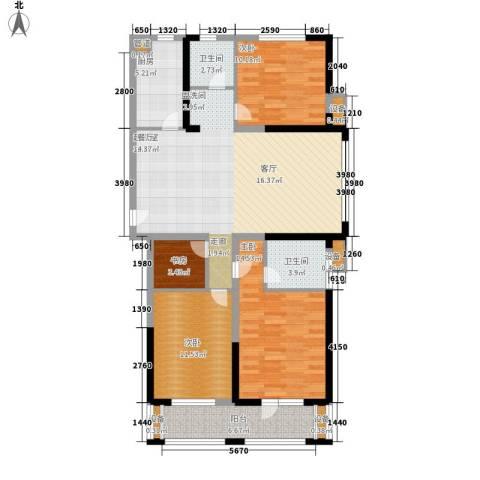 奥林清华御园4室0厅2卫1厨134.00㎡户型图