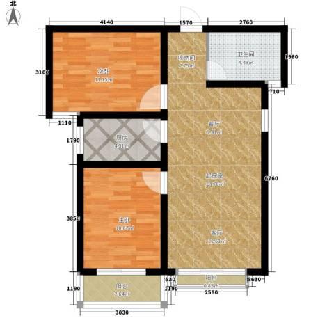 伴山名都2室0厅1卫1厨85.00㎡户型图