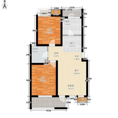 亿城新天地二期2室0厅1卫1厨84.00㎡户型图