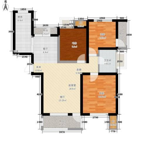 亿城新天地二期3室0厅1卫1厨92.00㎡户型图