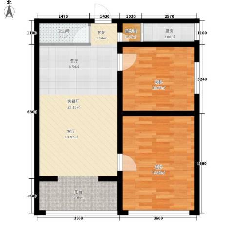 华旗东郡2室1厅1卫1厨88.00㎡户型图