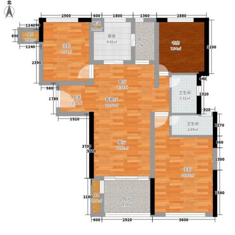 云梨小区3室1厅2卫1厨114.00㎡户型图