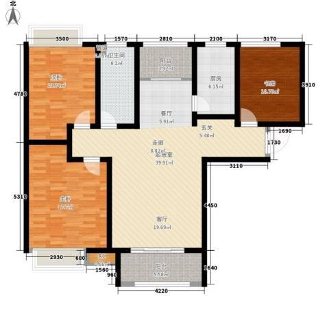 泉景天沅和园雅园3室0厅1卫1厨120.00㎡户型图