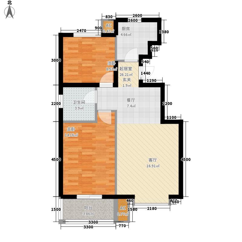 山海壹号80.00㎡D户型2室2厅
