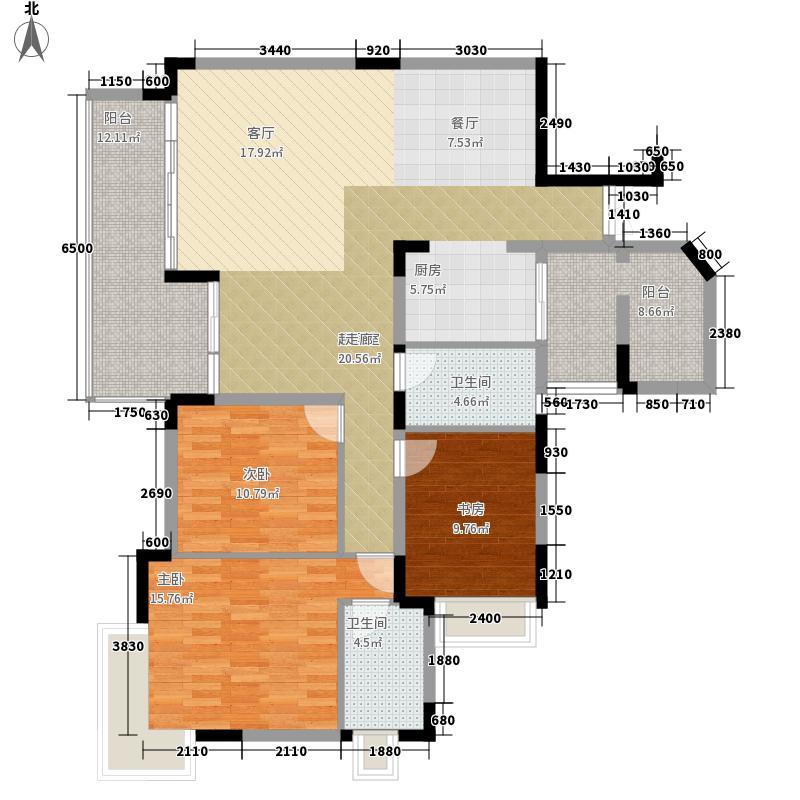 金科绿韵康城120.33㎡2期14号楼B面积12033m户型
