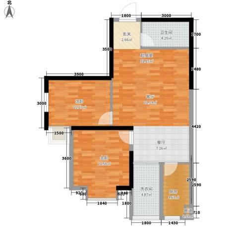 泰华紫落澜庭2室0厅1卫1厨76.55㎡户型图
