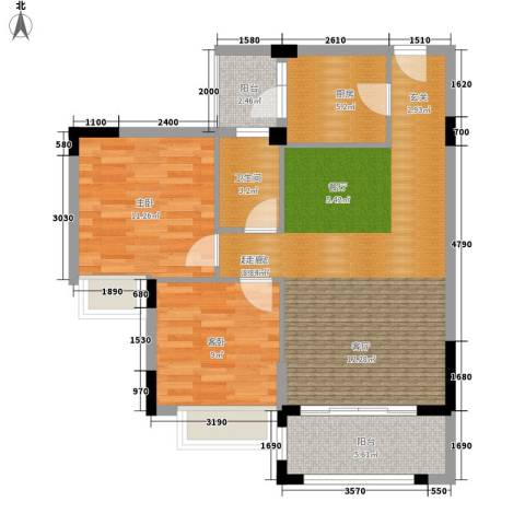 皇冠花园2室0厅1卫1厨94.00㎡户型图
