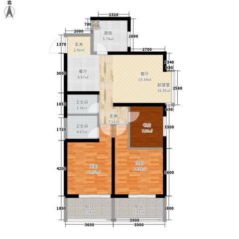 泰华紫落澜庭3室0厅2卫1厨106.15㎡户型图