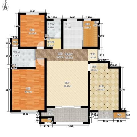 首创玲珑墅3室1厅2卫1厨140.00㎡户型图