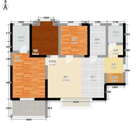 天悦东都3室0厅2卫1厨94.50㎡户型图