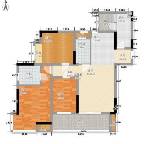 浩博天地3室0厅2卫1厨110.00㎡户型图