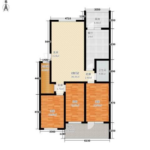 前龙小区3室1厅2卫1厨144.00㎡户型图