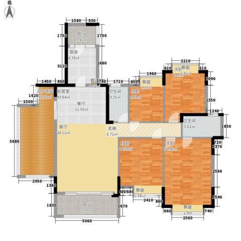 安南丽苑4室0厅2卫1厨153.00㎡户型图