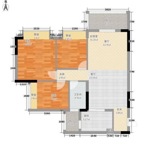 安南丽苑3室0厅1卫1厨91.00㎡户型图