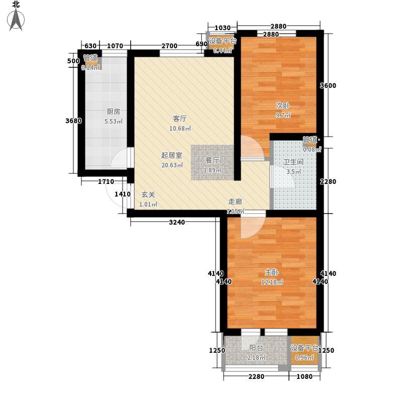 耀华心领寓87.68㎡一期1#2#楼标准层C户型