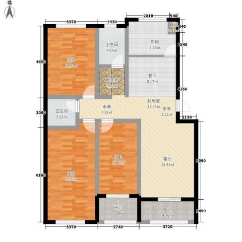 龙山花苑3室0厅2卫1厨120.00㎡户型图
