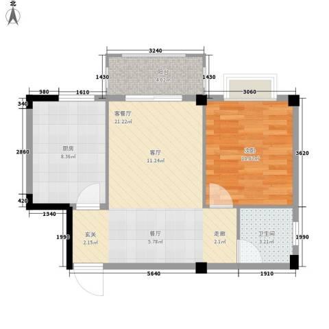 五里汉城1室1厅1卫1厨51.89㎡户型图
