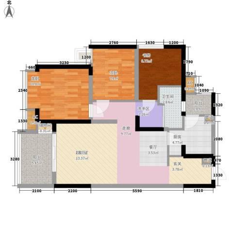 美年广场美岸3室0厅1卫1厨86.00㎡户型图