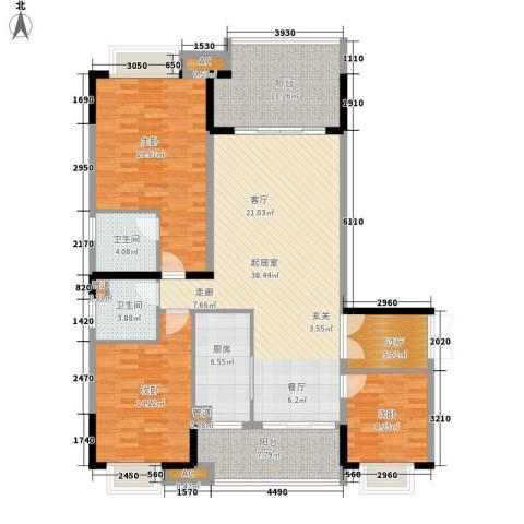 大湖一号3室0厅2卫1厨137.00㎡户型图