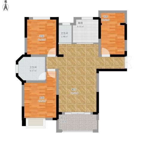 御景城3室1厅2卫1厨129.00㎡户型图