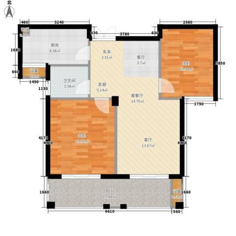 恒鑫文锦苑2室1厅1卫1厨86.00㎡户型图