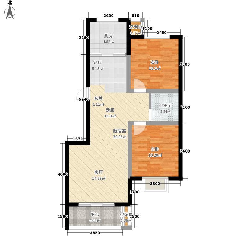 泽润天域89.16㎡4号楼B1户型2室2厅