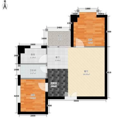时代先锋2室0厅1卫1厨74.00㎡户型图