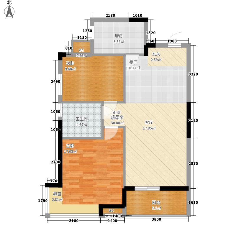 新长江香榭琴台84.33㎡一期1-3号面积8433m户型