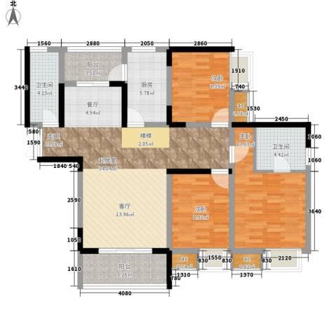 金科绿韵康城3室0厅2卫1厨131.00㎡户型图