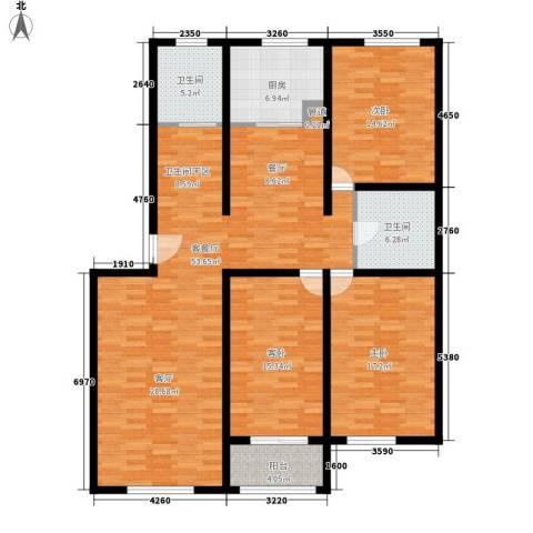 阳光新馨家园3室1厅2卫1厨139.00㎡户型图