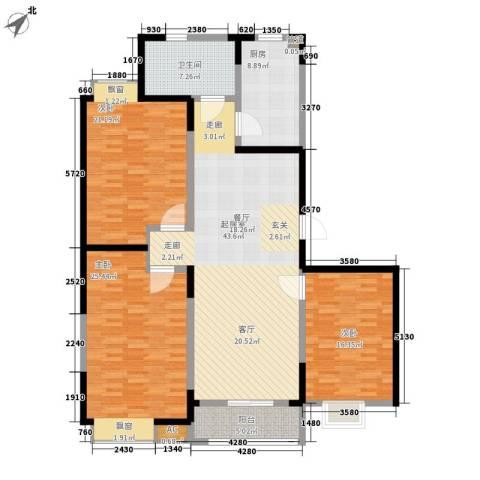 云锦蓝庭3室0厅1卫1厨144.00㎡户型图