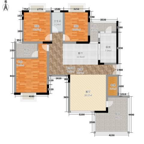 金科绿韵康城3室0厅1卫1厨126.43㎡户型图