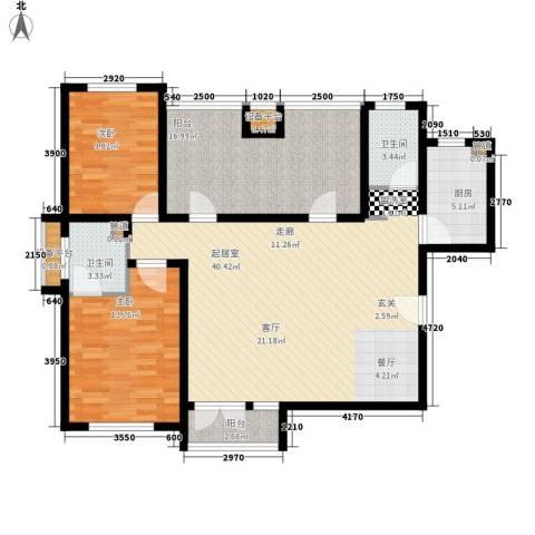 津沽首府2室0厅2卫1厨118.00㎡户型图