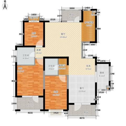 锦绣香江水城3室1厅2卫1厨160.00㎡户型图