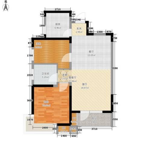 锦绣香江水城2室1厅1卫1厨90.00㎡户型图