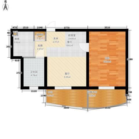 东方城市绿洲1室0厅1卫1厨63.00㎡户型图