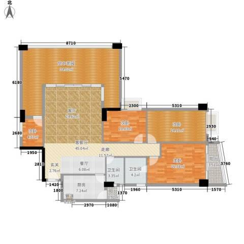 金豪嘉苑4室1厅2卫1厨161.00㎡户型图