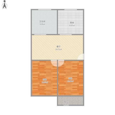 贝港南区2室1厅1卫1厨92.00㎡户型图