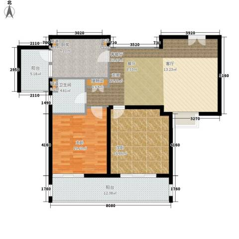 紫荆苑2室1厅1卫1厨110.00㎡户型图