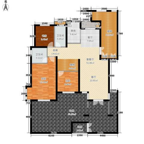 恒鑫文锦苑3室1厅2卫1厨190.73㎡户型图
