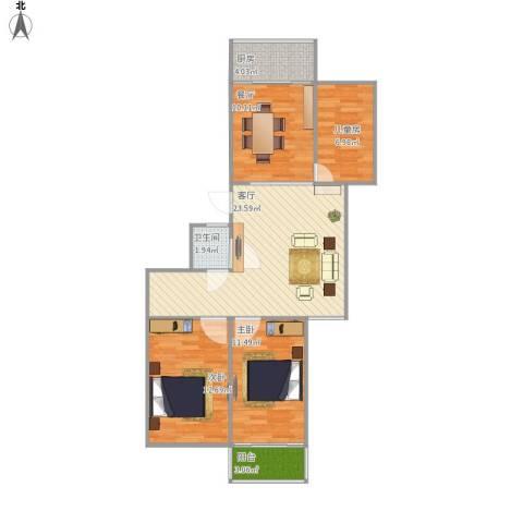 常青家园3室2厅1卫1厨100.00㎡户型图