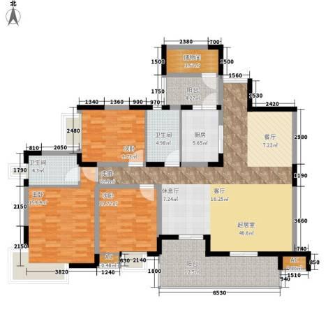 金科绿韵康城3室0厅2卫1厨120.00㎡户型图