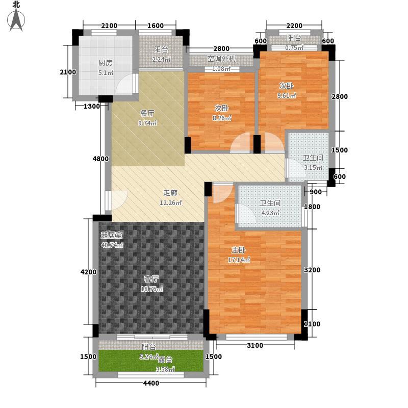 珠光新城113.00㎡20、21栋洋房4楼三房两厅两卫113平米户型3室2厅2卫