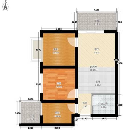卡斯摩小区2室0厅1卫1厨66.00㎡户型图