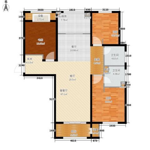 林荫大院3室1厅2卫1厨125.00㎡户型图