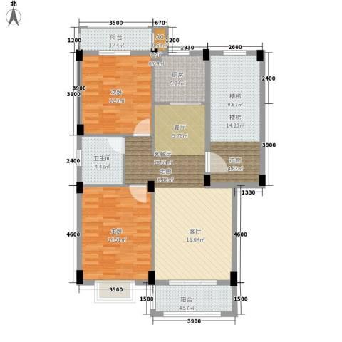 金谷鑫城三期2室1厅1卫1厨87.86㎡户型图
