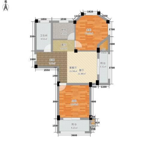 金谷鑫城三期2室1厅1卫1厨80.00㎡户型图